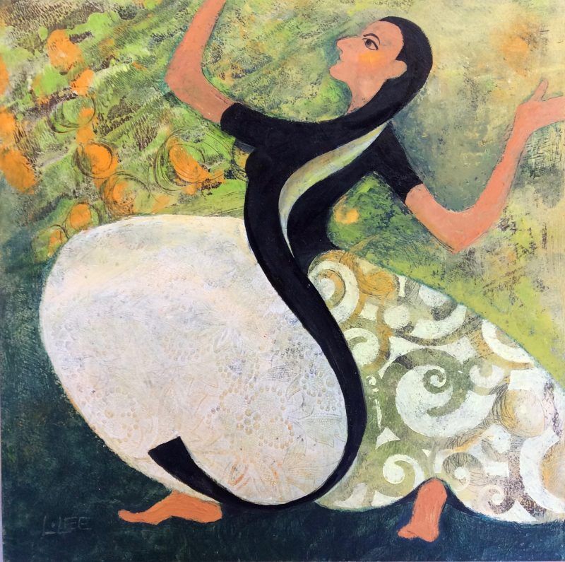 Pattern Dance II, oil and wax on 12 x 12 panel $195